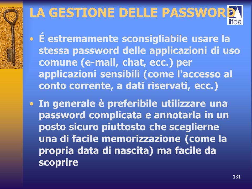 131 LA GESTIONE DELLE PASSWORD É estremamente sconsigliabile usare la stessa password delle applicazioni di uso comune (e-mail, chat, ecc.) per applic