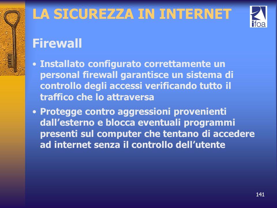141 LA SICUREZZA IN INTERNET Firewall Installato configurato correttamente un personal firewall garantisce un sistema di controllo degli accessi verif