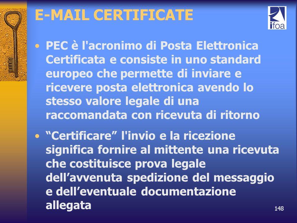 148 E-MAIL CERTIFICATE PEC è l'acronimo di Posta Elettronica Certificata e consiste in uno standard europeo che permette di inviare e ricevere posta e