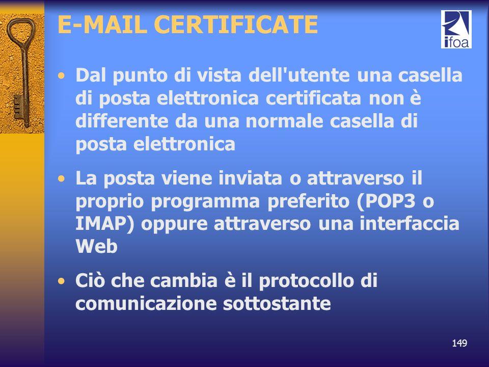 149 E-MAIL CERTIFICATE Dal punto di vista dell'utente una casella di posta elettronica certificata non è differente da una normale casella di posta el