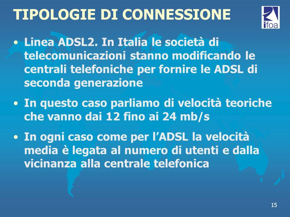 15 TIPOLOGIE DI CONNESSIONE Linea ADSL2. In Italia le società di telecomunicazioni stanno modificando le centrali telefoniche per fornire le ADSL di s
