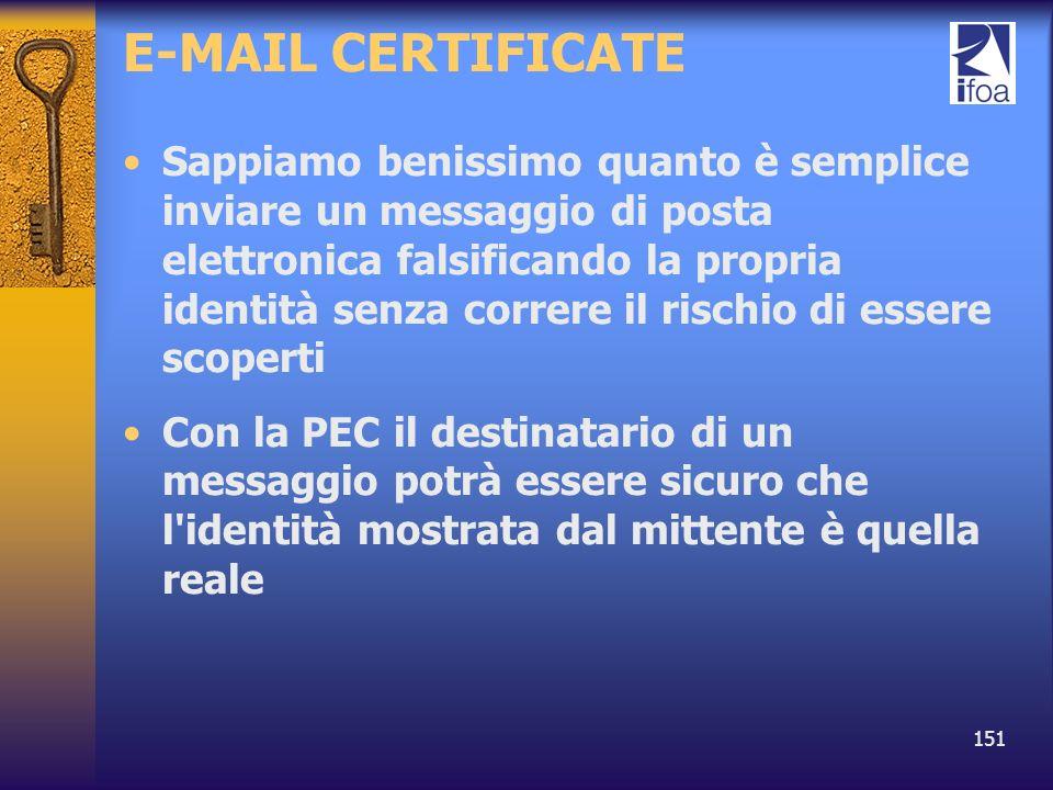 151 E-MAIL CERTIFICATE Sappiamo benissimo quanto è semplice inviare un messaggio di posta elettronica falsificando la propria identità senza correre i
