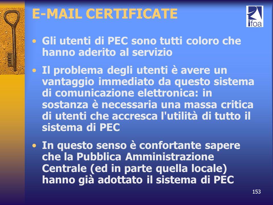 153 E-MAIL CERTIFICATE Gli utenti di PEC sono tutti coloro che hanno aderito al servizio Il problema degli utenti è avere un vantaggio immediato da qu