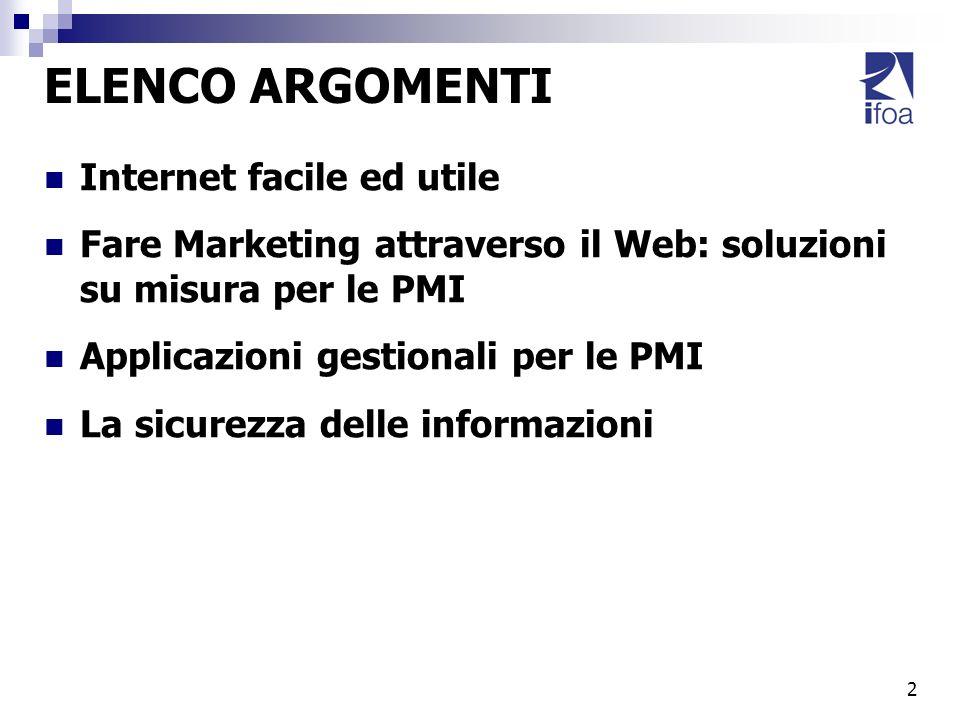 2 ELENCO ARGOMENTI Internet facile ed utile Fare Marketing attraverso il Web: soluzioni su misura per le PMI Applicazioni gestionali per le PMI La sic