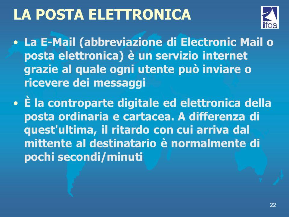 22 LA POSTA ELETTRONICA La E-Mail (abbreviazione di Electronic Mail o posta elettronica) è un servizio internet grazie al quale ogni utente può inviar