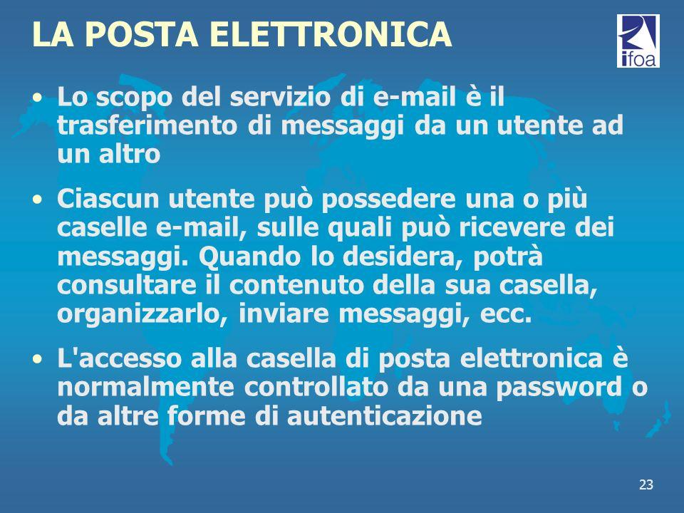 23 LA POSTA ELETTRONICA Lo scopo del servizio di e-mail è il trasferimento di messaggi da un utente ad un altro Ciascun utente può possedere una o più