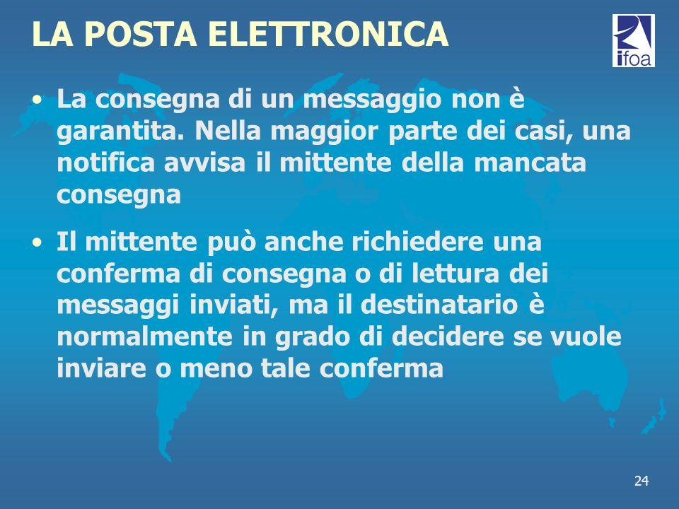 24 LA POSTA ELETTRONICA La consegna di un messaggio non è garantita. Nella maggior parte dei casi, una notifica avvisa il mittente della mancata conse