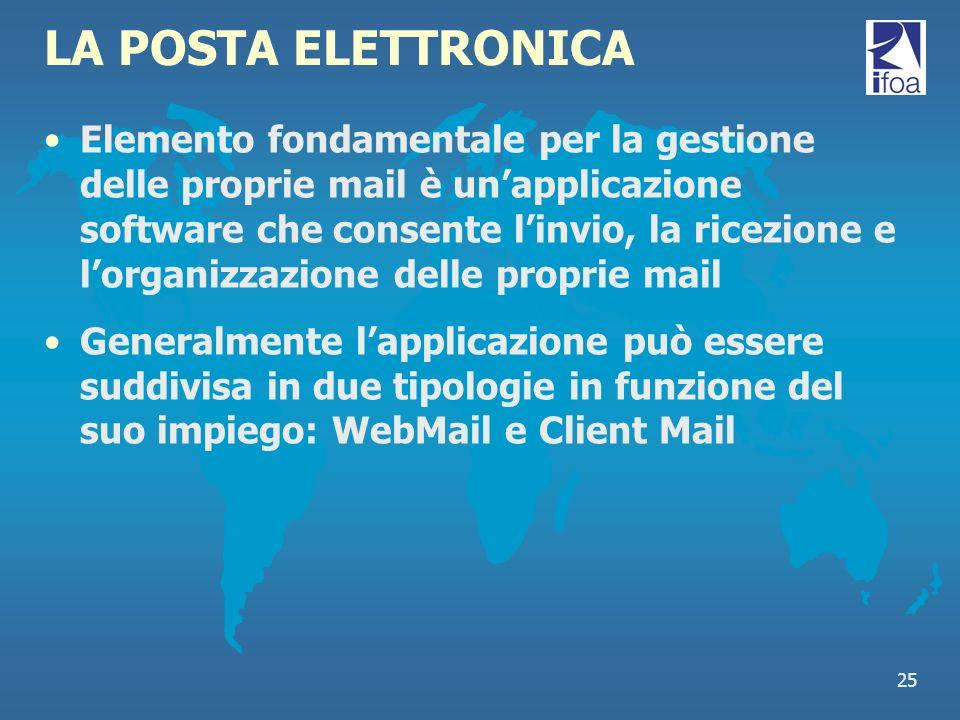 25 LA POSTA ELETTRONICA Elemento fondamentale per la gestione delle proprie mail è unapplicazione software che consente linvio, la ricezione e lorgani