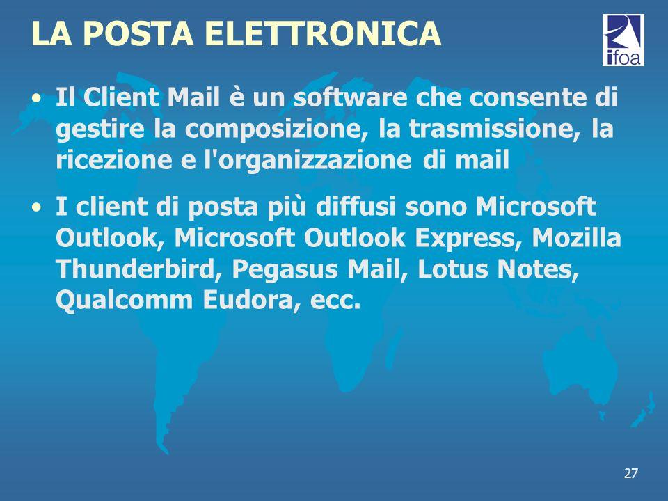 27 LA POSTA ELETTRONICA Il Client Mail è un software che consente di gestire la composizione, la trasmissione, la ricezione e l'organizzazione di mail