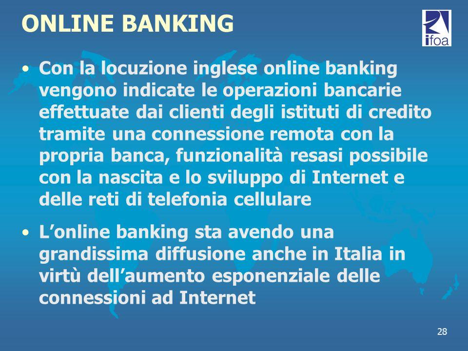 28 ONLINE BANKING Con la locuzione inglese online banking vengono indicate le operazioni bancarie effettuate dai clienti degli istituti di credito tra