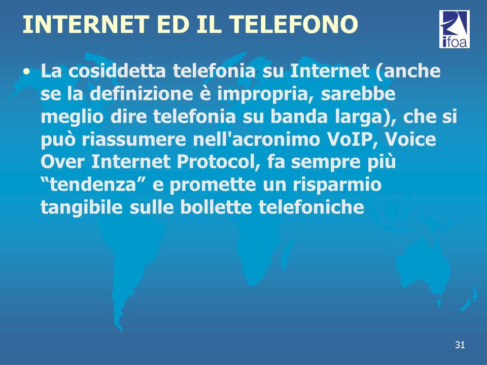 31 INTERNET ED IL TELEFONO La cosiddetta telefonia su Internet (anche se la definizione è impropria, sarebbe meglio dire telefonia su banda larga), ch