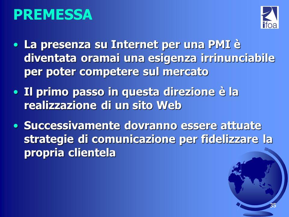 35 PREMESSA La presenza su Internet per una PMI è diventata oramai una esigenza irrinunciabile per poter competere sul mercatoLa presenza su Internet