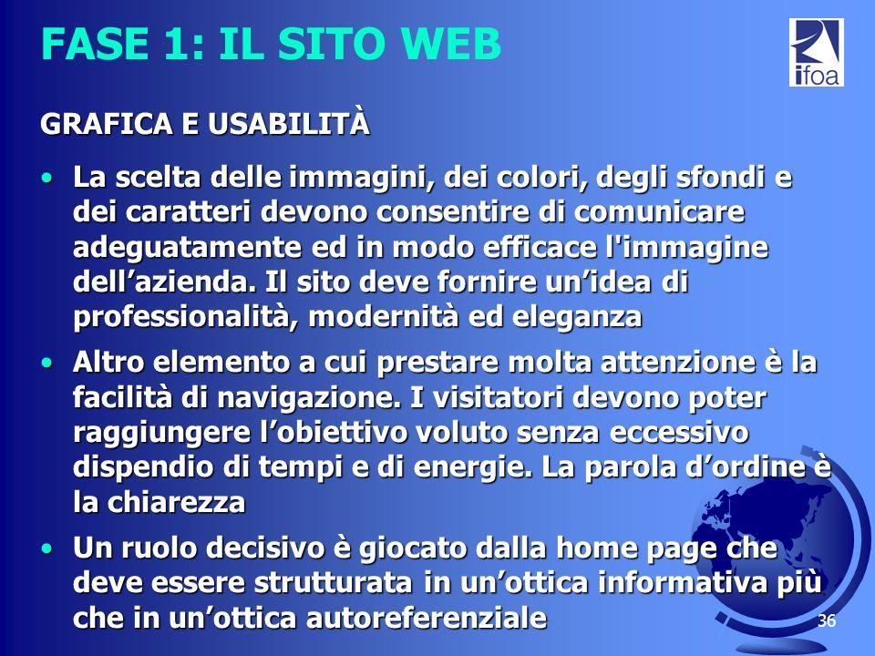 36 FASE 1: IL SITO WEB GRAFICA E USABILITÀ La scelta delle immagini, dei colori, degli sfondi e dei caratteri devono consentire di comunicare adeguata