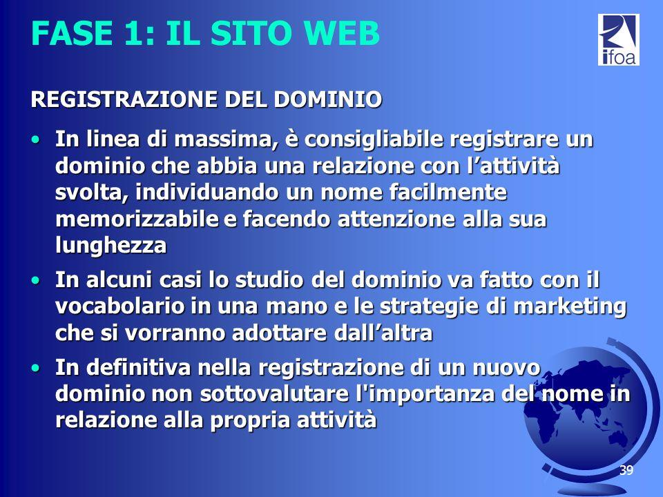 39 FASE 1: IL SITO WEB REGISTRAZIONE DEL DOMINIO In linea di massima, è consigliabile registrare un dominio che abbia una relazione con lattività svol