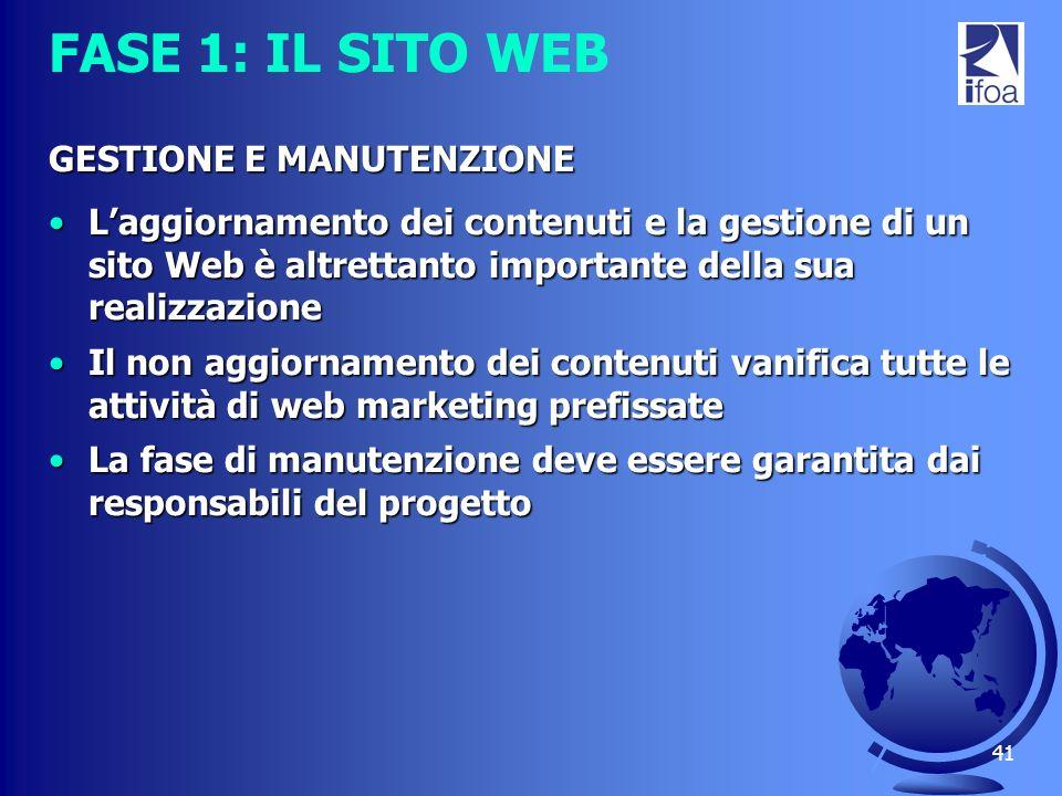 41 FASE 1: IL SITO WEB GESTIONE E MANUTENZIONE Laggiornamento dei contenuti e la gestione di un sito Web è altrettanto importante della sua realizzazi