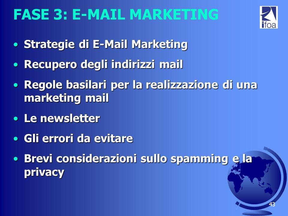43 FASE 3: E-MAIL MARKETING Strategie di E-Mail MarketingStrategie di E-Mail Marketing Recupero degli indirizzi mailRecupero degli indirizzi mail Rego