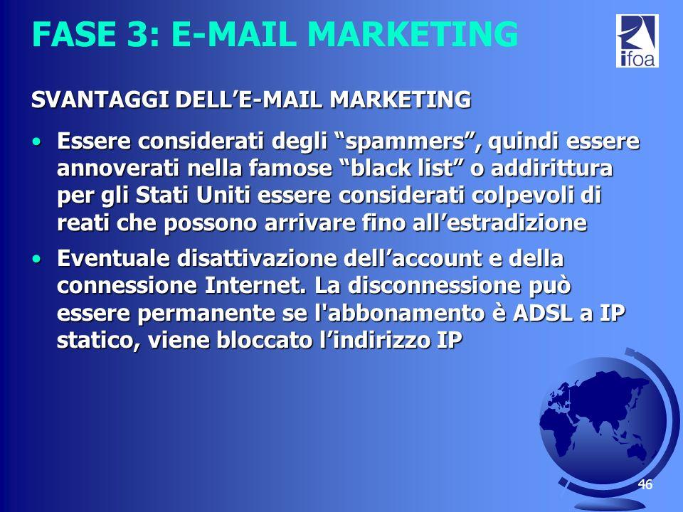 46 FASE 3: E-MAIL MARKETING SVANTAGGI DELLE-MAIL MARKETING Essere considerati degli spammers, quindi essere annoverati nella famose black list o addir