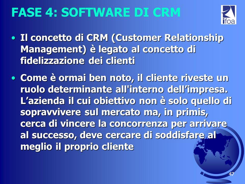 47 FASE 4: SOFTWARE DI CRM Il concetto di CRM (Customer Relationship Management) è legato al concetto di fidelizzazione dei clientiIl concetto di CRM