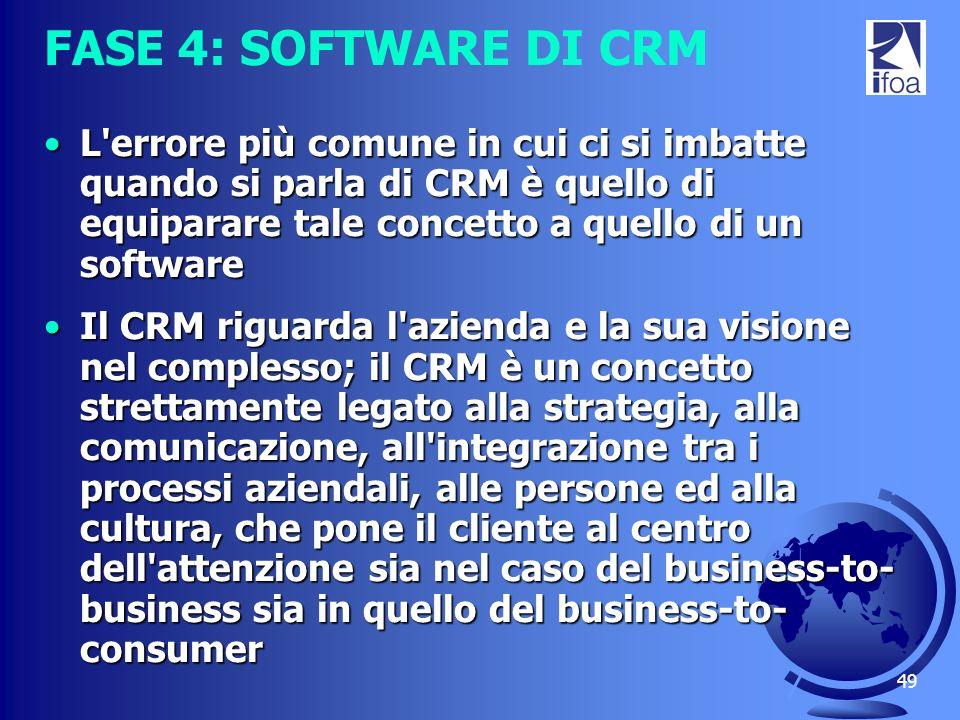 49 FASE 4: SOFTWARE DI CRM L'errore più comune in cui ci si imbatte quando si parla di CRM è quello di equiparare tale concetto a quello di un softwar