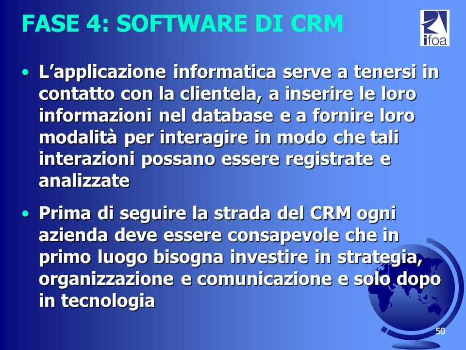 50 FASE 4: SOFTWARE DI CRM Lapplicazione informatica serve a tenersi in contatto con la clientela, a inserire le loro informazioni nel database e a fo