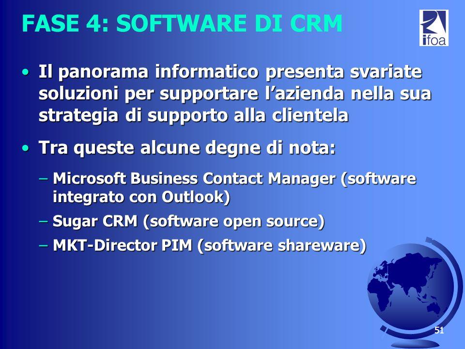 51 FASE 4: SOFTWARE DI CRM Il panorama informatico presenta svariate soluzioni per supportare lazienda nella sua strategia di supporto alla clientelaI