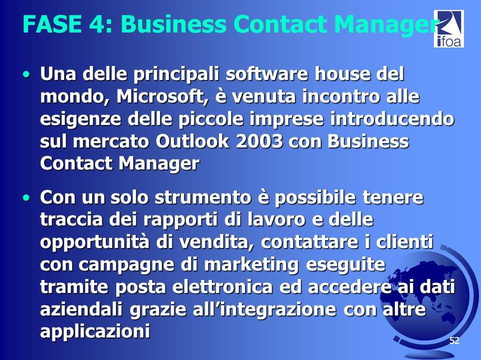 52 FASE 4: Business Contact Manager Una delle principali software house del mondo, Microsoft, è venuta incontro alle esigenze delle piccole imprese in