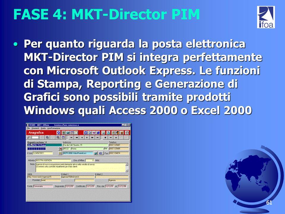 61 FASE 4: MKT-Director PIM Per quanto riguarda la posta elettronica MKT-Director PIM si integra perfettamente con Microsoft Outlook Express. Le funzi