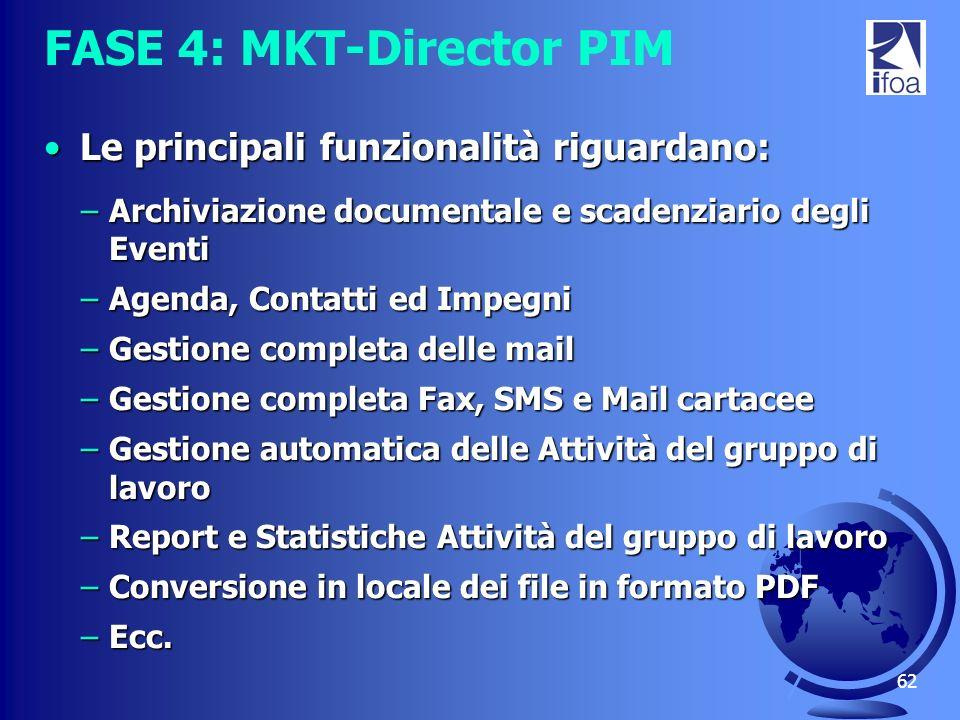 62 FASE 4: MKT-Director PIM Le principali funzionalità riguardano:Le principali funzionalità riguardano: –Archiviazione documentale e scadenziario deg