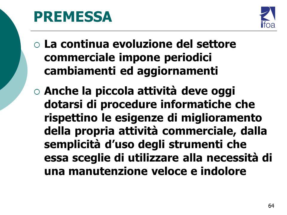64 PREMESSA La continua evoluzione del settore commerciale impone periodici cambiamenti ed aggiornamenti Anche la piccola attività deve oggi dotarsi d