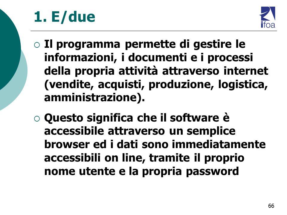 66 1. E/due Il programma permette di gestire le informazioni, i documenti e i processi della propria attività attraverso internet (vendite, acquisti,