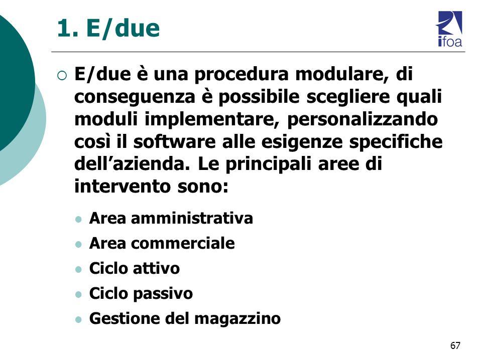 67 1. E/due E/due è una procedura modulare, di conseguenza è possibile scegliere quali moduli implementare, personalizzando così il software alle esig