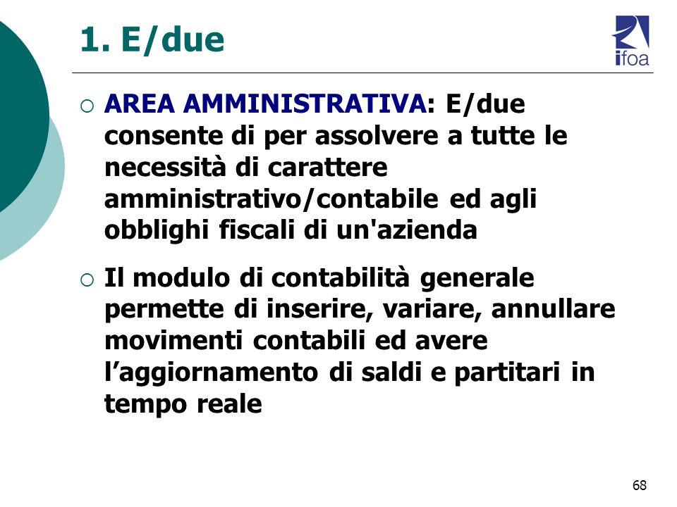 68 1. E/due AREA AMMINISTRATIVA: E/due consente di per assolvere a tutte le necessità di carattere amministrativo/contabile ed agli obblighi fiscali d