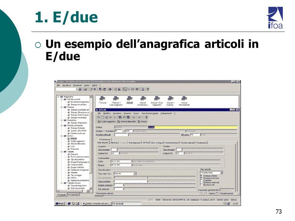 73 1. E/due Un esempio dellanagrafica articoli in E/due