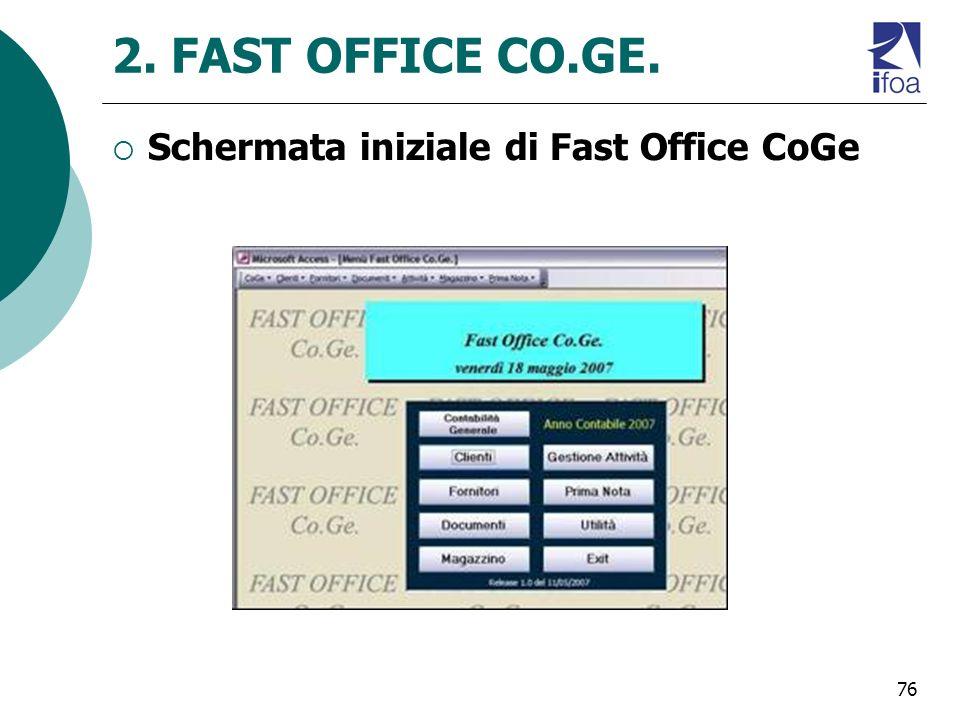 76 2. FAST OFFICE CO.GE. Schermata iniziale di Fast Office CoGe