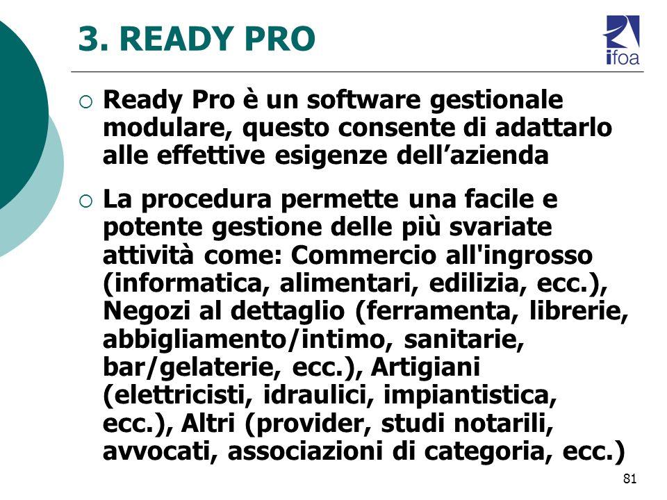 81 3. READY PRO Ready Pro è un software gestionale modulare, questo consente di adattarlo alle effettive esigenze dellazienda La procedura permette un