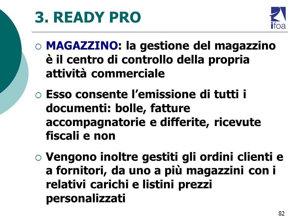 82 3. READY PRO MAGAZZINO: la gestione del magazzino è il centro di controllo della propria attività commerciale Esso consente lemissione di tutti i d