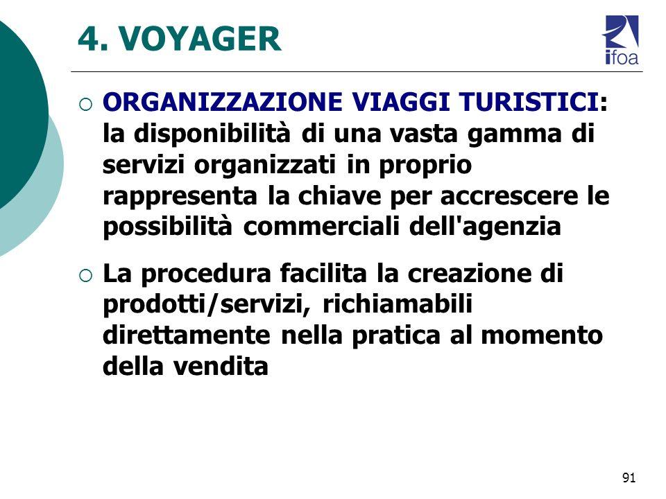 91 4. VOYAGER ORGANIZZAZIONE VIAGGI TURISTICI: la disponibilità di una vasta gamma di servizi organizzati in proprio rappresenta la chiave per accresc