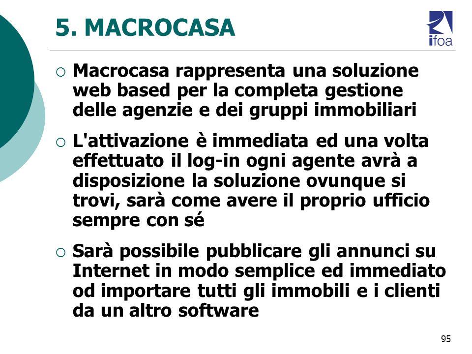95 5. MACROCASA Macrocasa rappresenta una soluzione web based per la completa gestione delle agenzie e dei gruppi immobiliari L'attivazione è immediat