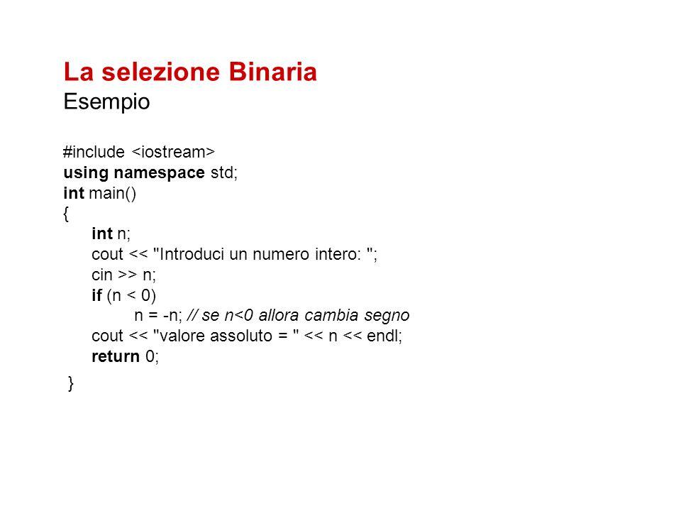Risolvere i seguenti esercizi Scrivere un programma C++ che 1.Dato in input due numeri li stampi in ordine 2.Dati in input due numeri li scambi se non sono in ordine 3.Dato in input un numero dica se è pari o dispari 4.Dati in input i coefficienti a e b di unequazione di primo grado ne determini la soluzione 5.Dato in input un numero dica se ammette radice quadrata reale e in caso affermativo calcolarla 6.Dato un numero determinare se esso èun quadrato perfetto