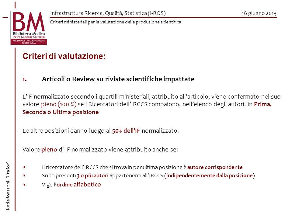16 giugno 2013 Criteri di valutazione: 1.Articoli o Review su riviste scientifiche impattate LIF normalizzato secondo i quartili ministeriali, attribu