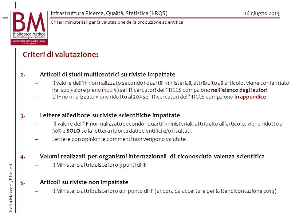 16 giugno 2013 Criteri di valutazione: 2.Articoli di studi multicentrici su riviste impattate –Il valore dellIF normalizzato secondo i quartili minist