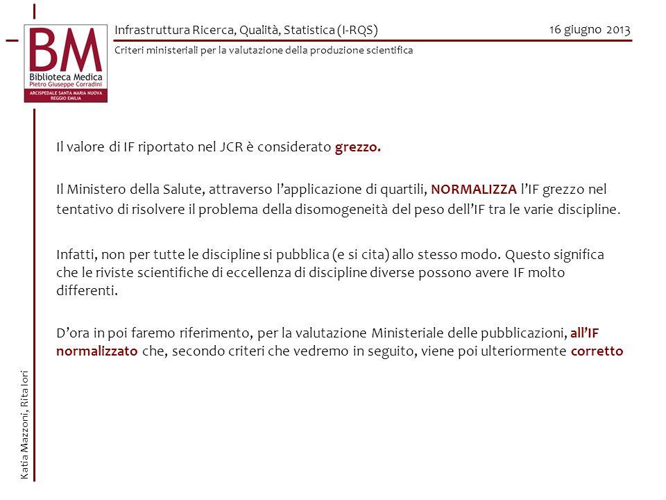 16 giugno 2013 Katia Mazzoni, Rita Iori Il valore di IF riportato nel JCR è considerato grezzo. Il Ministero della Salute, attraverso lapplicazione di