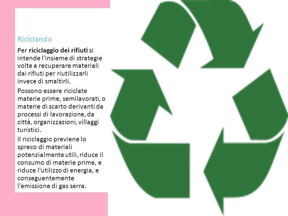 Riciclando Per riciclaggio dei rifiuti si intende l'insieme di strategie volte a recuperare materiali dai rifiuti per riutilizzarli invece di smaltirl