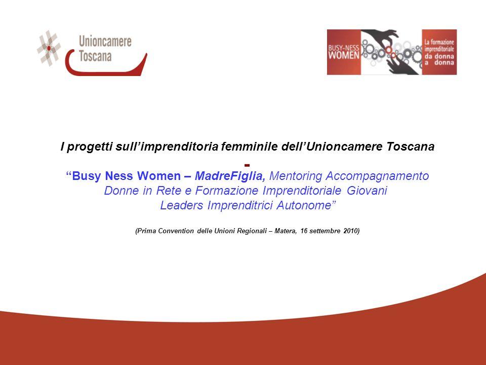 - I progetti sullimprenditoria femminile dellUnioncamere Toscana Busy Ness Women – MadreFiglia, Mentoring Accompagnamento Donne in Rete e Formazione Imprenditoriale Giovani Leaders Imprenditrici Autonome (Prima Convention delle Unioni Regionali – Matera, 16 settembre 2010)