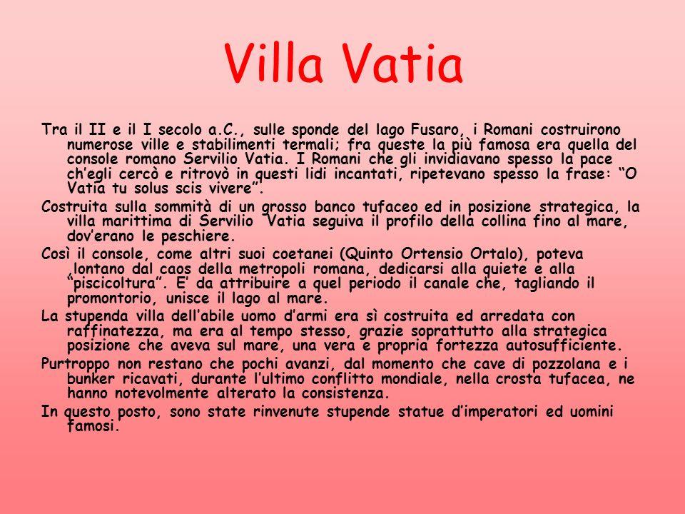 Villa Vatia Tra il II e il I secolo a.C., sulle sponde del lago Fusaro, i Romani costruirono numerose ville e stabilimenti termali; fra queste la più famosa era quella del console romano Servilio Vatia.