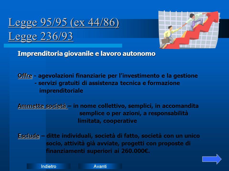 AvantiIndietro Legge 95/95 (ex 44/86) Legge 236/93 Imprenditoria giovanile e lavoro autonomo Offre Offre - agevolazioni finanziarie per linvestimento