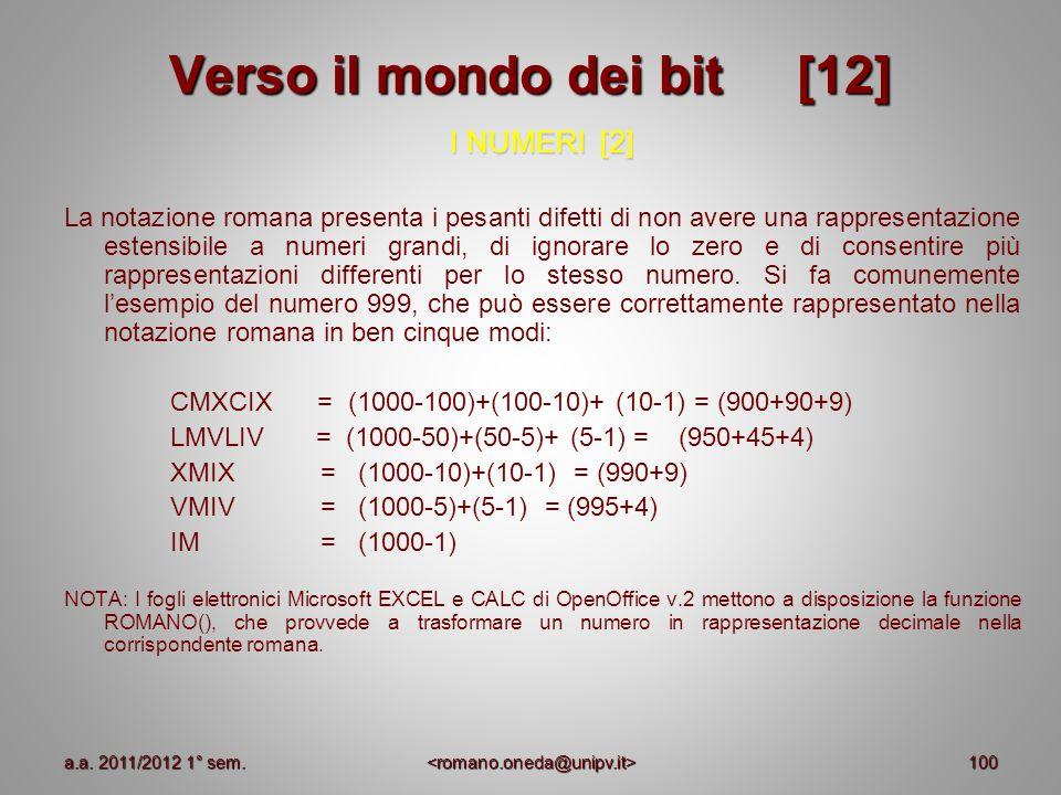 100 Verso il mondo dei bit [12] I NUMERI [2] La notazione romana presenta i pesanti difetti di non avere una rappresentazione estensibile a numeri gra