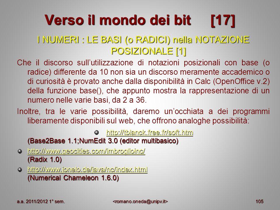 105 Verso il mondo dei bit [17] I NUMERI : LE BASI (o RADICI) nella NOTAZIONE POSIZIONALE [1] Che il discorso sullutilizzazione di notazioni posiziona
