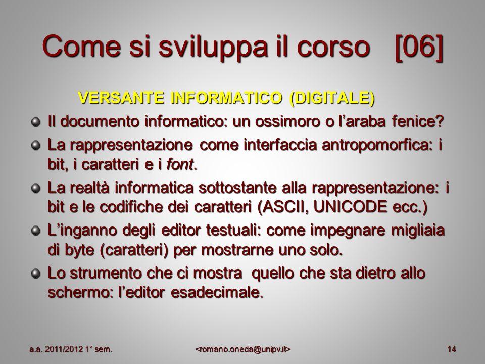 14 Come si sviluppa il corso [06] VERSANTE INFORMATICO (DIGITALE) Il documento informatico: un ossimoro o laraba fenice? La rappresentazione come inte
