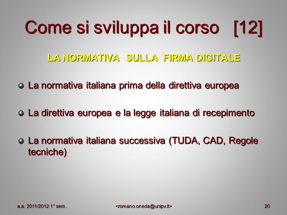 20 Come si sviluppa il corso [12] LA NORMATIVA SULLA FIRMA DIGITALE La normativa italiana prima della direttiva europea La direttiva europea e la legg